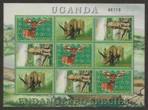 Uganda-2001-Endangered-Species-Animals-Sheet-1691-VF-NH