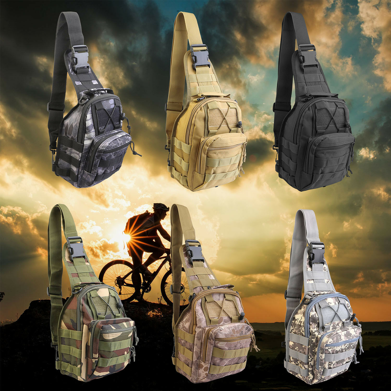 Men Shoulder Tactical Backpack Sling Chest Bag Outdoor Travel Camping ... - s l1600