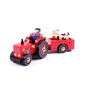 Trecker Traktor aus Holz Holztrecker mit Anhänger