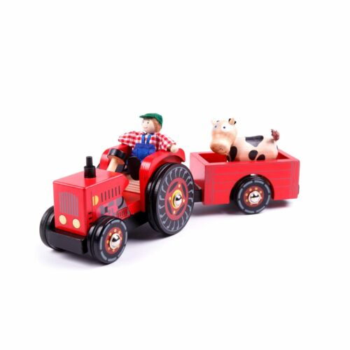 Trecker Holzspielzeug Traktor Holz Holztrecker Anhänger Fahrzeug Tiere Auto neu