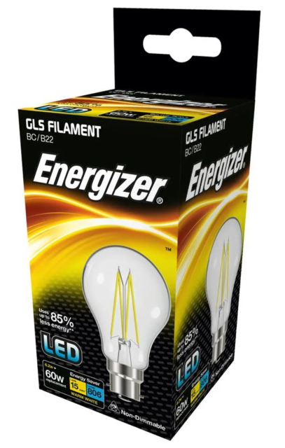 Energizer 6.2w (=60w) LED Clear GLS Filament Bulb, Extra Warm White (2700k) - BC