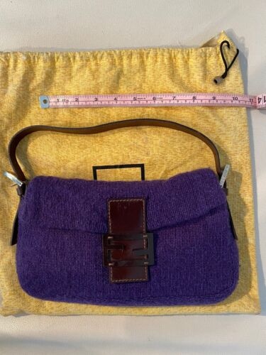 Fendi Baguette Small Purple Wool Brown Leather Sho