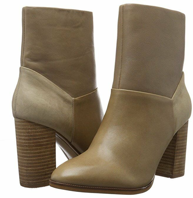 ALDO CATHERYN Größe 3 7 8 BEIGE CAMEL REAL LEATHER HIGH HEEL ANKLE Stiefel BNWB
