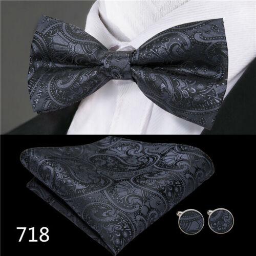 Men/'s Tie Bowtie Set Black Paisley 100/% Silk Classic Formal Wedding Funeral USA