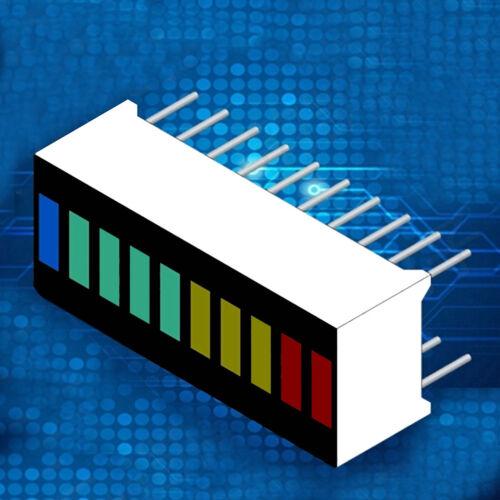 5 Pcs//set New 10 Segment Led Bargraph Light Display Red Yellow Green BlueJH