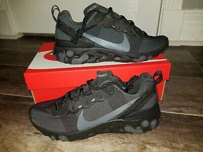 Nike React Element 55 Triple Black New Men/'s Lifestyle Shoes Low Top BQ6166-008