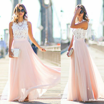 sommer damen spitze abendkleider maxikleid bodenlang party hochzeit kleider rosa  ebay