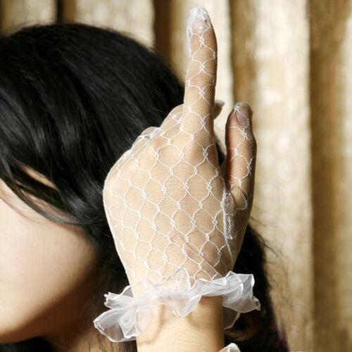 Ladies Wrist Length Gloves All Lace Goth Fancy Dress Bridal.
