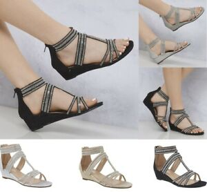 New-Ladies-Low-Wedge-Diamante-Ankle-Strap-Dressy-Party-Evening-Sandals-Size-3-8