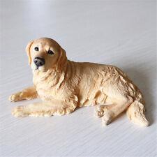 CDG042 Golden Retriever Dog Sleep in Basket Ceramic Figurine Animal Miniature