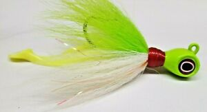 Cobia-Striper-Rockfish-Bucktail-Flash-Lure-with-Shad-Body-Mustad-Hook-Ch-White