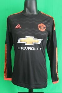 pretty nice 7490b 67819 Details about Manchester united adizero 2015-2016 third black shirt jersey  long sleeves