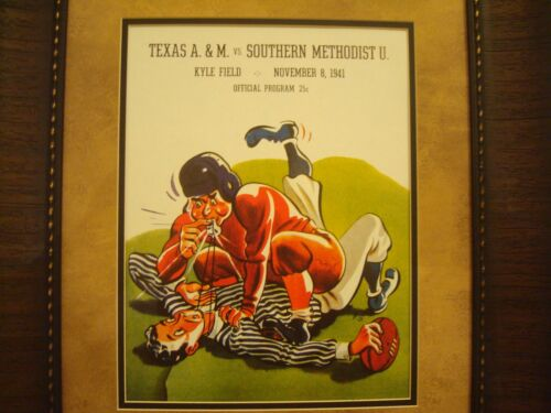 "VINTAGE TEXAS A/&M COLLEGE FOOTBALL POSTER  FRAMED /""A/&M VS SMU./"" NOV 1941"