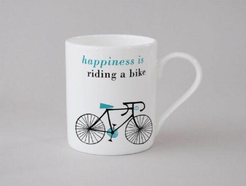 Made Stoke on Trent Happiness is Riding a Bike Bicycle Small Bone China Mug