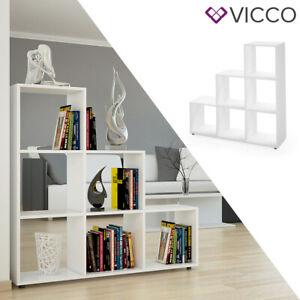 Détails sur Vicco Étagère escalier cloison de séparation 6 compartiments  105 cm Blanc