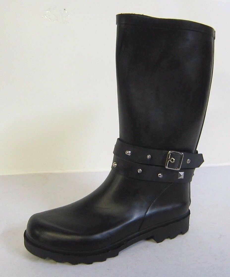 X1098-Ladies Spot On Black Rubber Diamante Wellington Boots- Great Price!