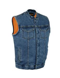 Gun Pocket Snap// Zip Closure Mens SOA Black Leather Trim Denim Club Cut Vest