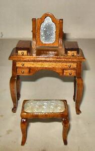 Image Is Loading VINTAGE DRESSING TABLE BENCH WALNUT 7714 DOLL HOUSE