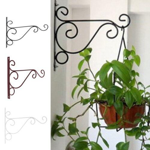 Iron Balcony Plant Flower Pot Wrought Hooks Holder Wall-Mounted Hanging Basket
