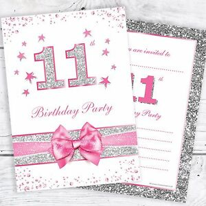 11th birthday invites pink with photo effect glitter a6 size