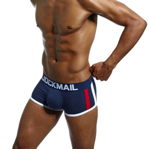 Mens Cotton Boxer Trunks Underwear With Bulge Enhancer Cup Pouch Pad Shorts