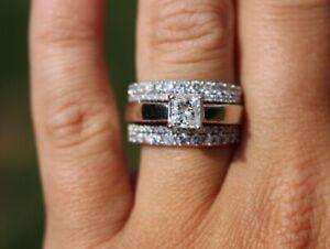 2-00-CT-Princess-Cut-Diamond-Engagement-Ring-Wedding-Set-14k-White-Gold-Over
