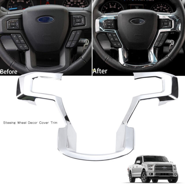 2015 F150 Accessories >> Chrome Steering Wheel Moulding Trims Cover For 2015 2017 Ford F150 Accessories
