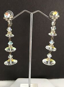 Image Is Loading Vintage Margarita Rhinestone Clip Earrings Dangle High End