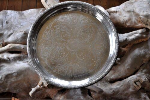 1 antikes orientalisches Silbertablett Tablett TEETABLETT Marokko Ø 51 cm (91)