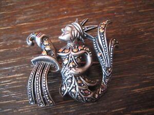 Art-Deco-Markasit-Brosche-Sternzeichen-Wassermann-Horoskop-925er-Silber-exklusiv