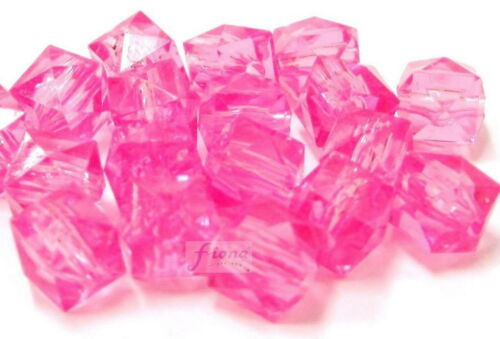 Plastic Beads Pink Square Cube 8 mm Transparent Pink 200 pcs DIY Jewelry Making