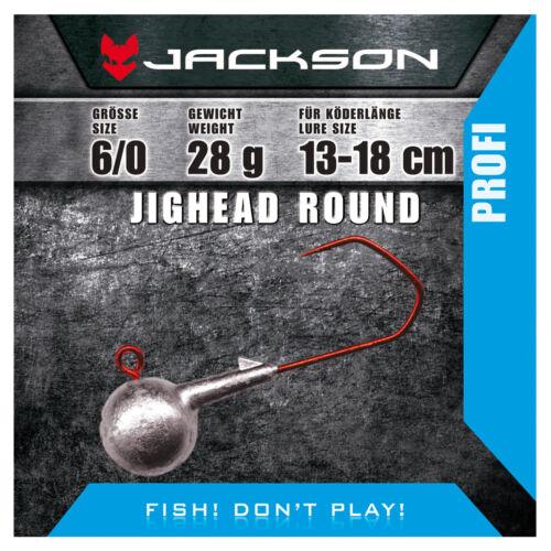 3 Stück Round 6//0 für Köderlänge 13–18 cm 24g Jackson VMC Jighead Jigkopf