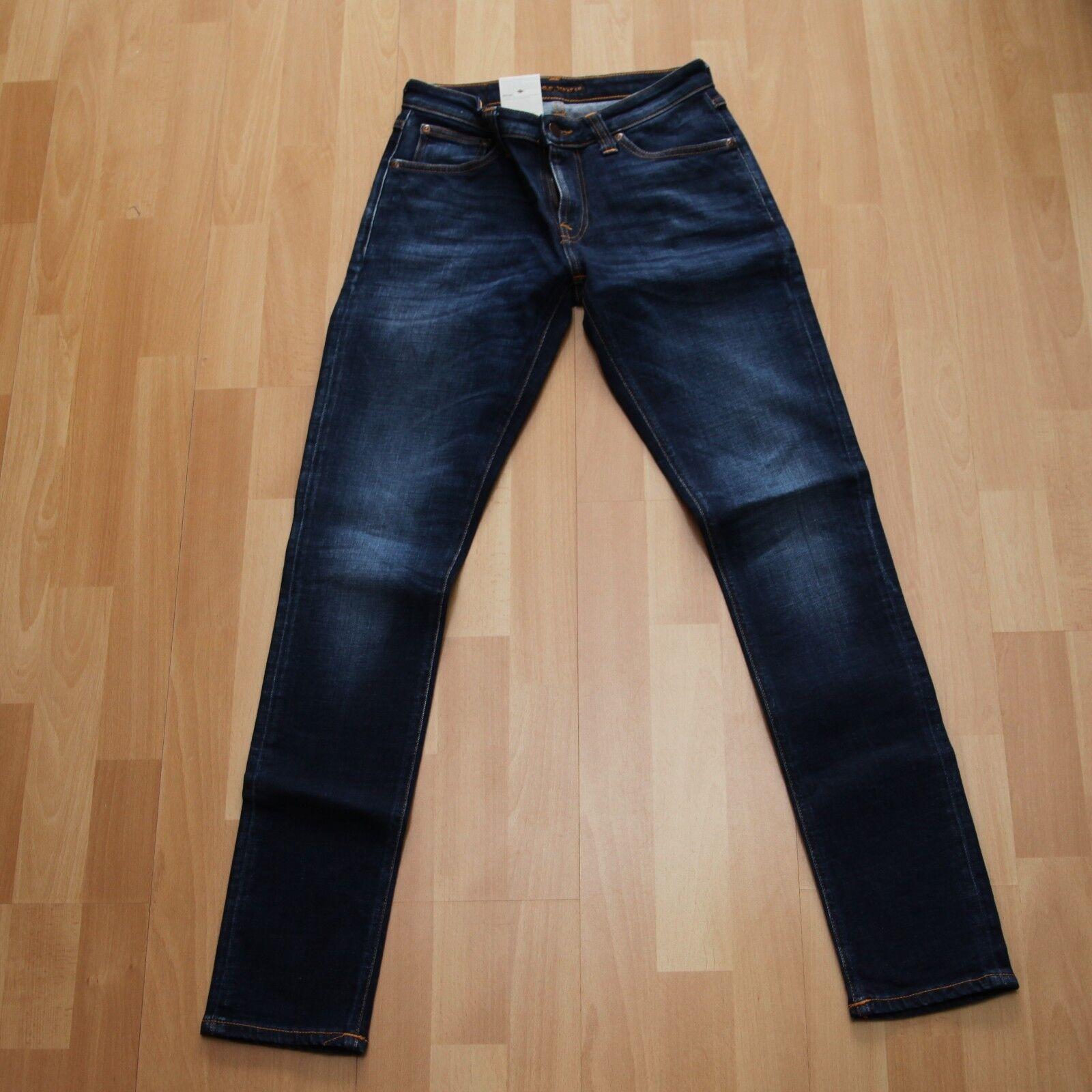 NEU Nudie Jeans Skinny LIN (skinny legs) Organic Dark Deep Worn 28 32