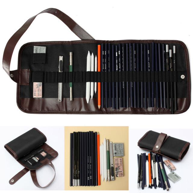 18x Sketch Pencils + Charcoal Pencil Eraser Kit Art Craft for Drawing Sketching