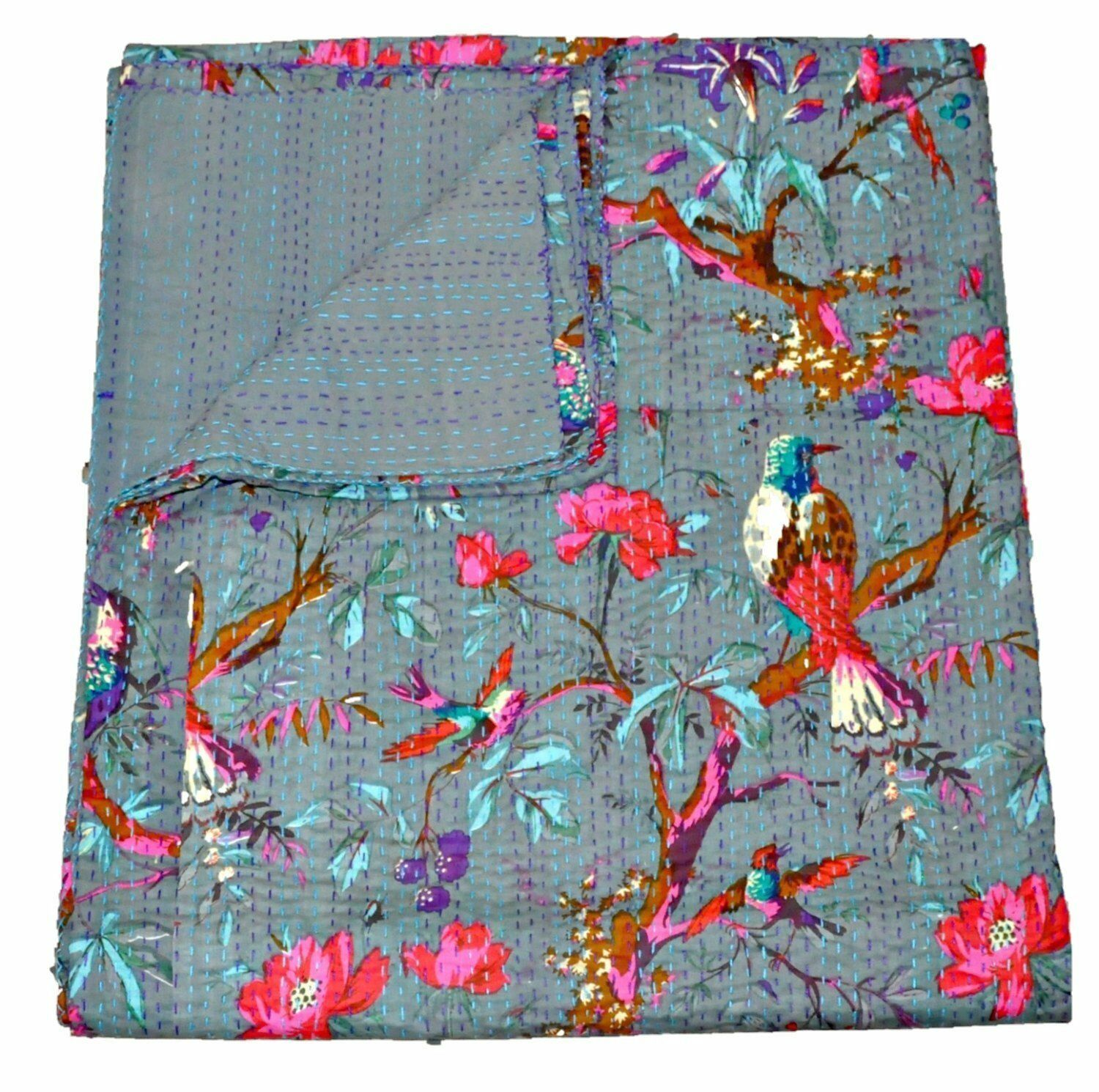 Cotton Bedcover Bedspread Coverlet Kantha Quilt Indian Vintage Reversible Throw