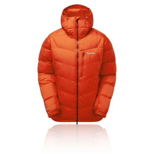 Montane Mens Resolute Down Jacket Top Orange Sports Outdoors Full Zip Hooded