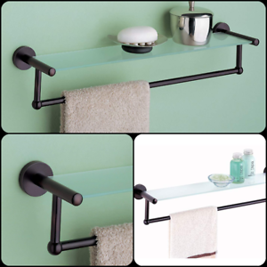 Bath Glass Shelf With Towel Bar Bathroom Storage Organizer Oil