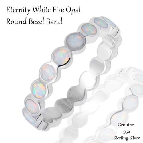White Fire Opal Eternity Wedding Engagement Sterling Silver Ring Size 4 10