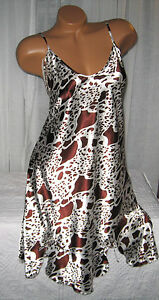 White-Brown-Animal-Print-Chemise-Short-Gown-1X-Plus-Adjustable-straps