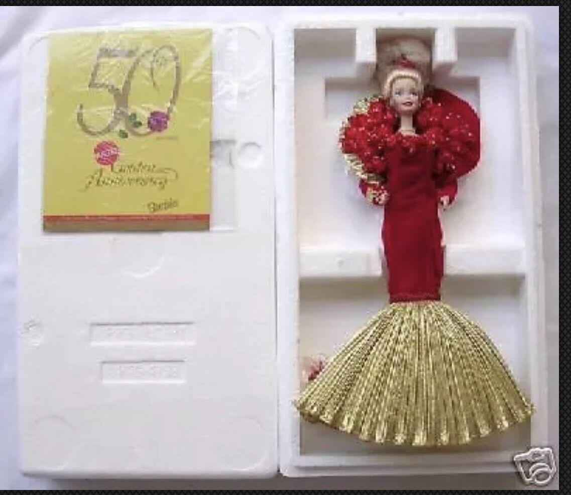 1995 50 Aniversario Barbie de porcelana w shipper Mib
