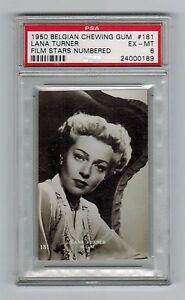 PSA 6 LANA TURNER 1950 Belgian Chewing Gum Movie Star ...