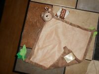 Happy Company Plush Lovey Blanket Security Tan Benji Dog Bear Teether