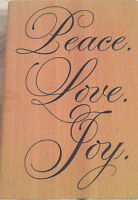 Christmas Peace Love Rubber Stamp Holiday Greeting 3.5x5 Hanukkah Wedding
