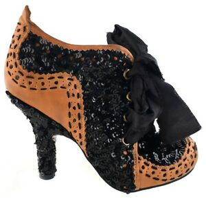 NEW-Women-039-s-Irregular-Choice-Abigails-Party-Sequin-Ankle-Boot-Black-Tan-6-5