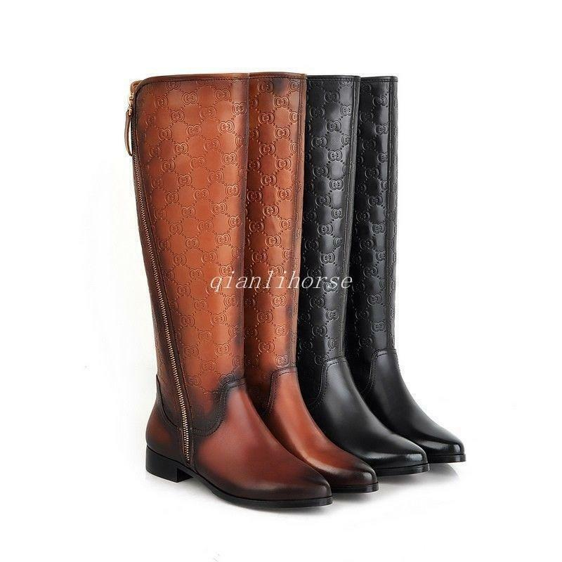 NEW Women's Genuine Leather Low Heel Zip Knee High Boots Pointed Shoes Plus Size