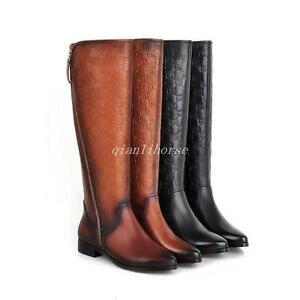 NEW Women's Genuine Leather Low Heel Zip Knee High Boots ...