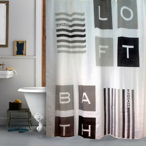 Loft industrial style bathroom waterproof fabric shower for Loft country shower curtains for the bathroom