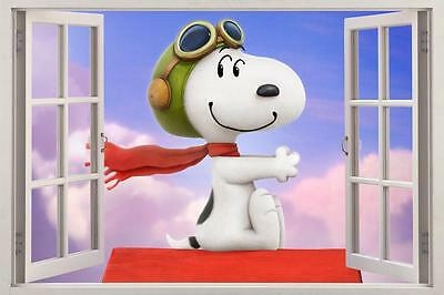 36 or 52 Snoopy Charlie brown Woodstock 3D Window View Decal Graphic WALL STICKER Art Mural 18 24