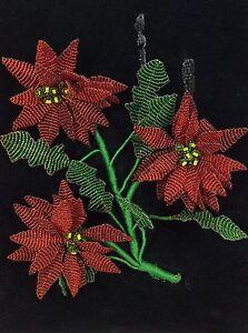 Vintage Christmas French Glass Bead Pointsetta Flower Velvet Wall Hang Picture