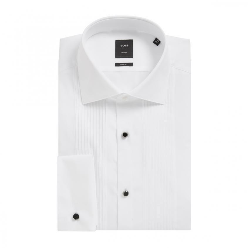 Hugo Boss men Weiß cotton dress tux prom tuxedo slim fit double cuff link shirt